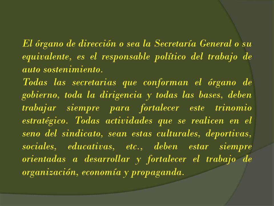 El órgano de dirección o sea la Secretaría General o su equivalente, es el responsable político del trabajo de auto sostenimiento. Todas las secretari