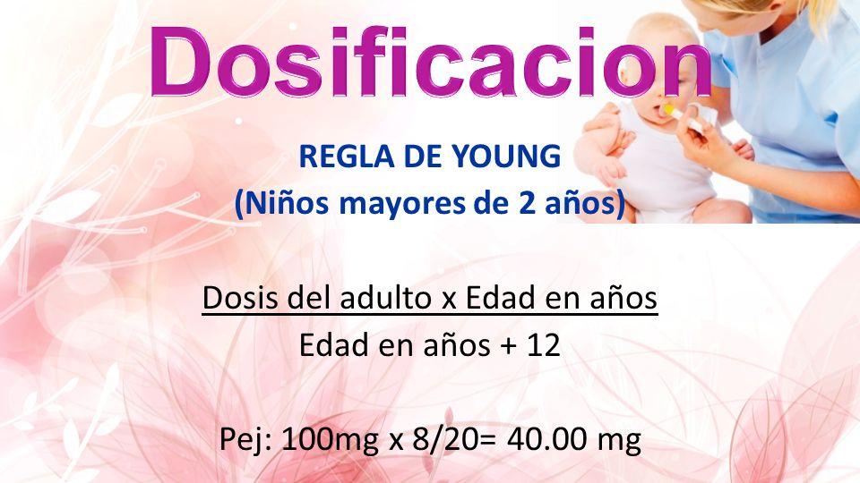 REGLA DE YOUNG (Niños mayores de 2 años) Dosis del adulto x Edad en años Edad en años + 12 Pej: 100mg x 8/20= 40.00 mg