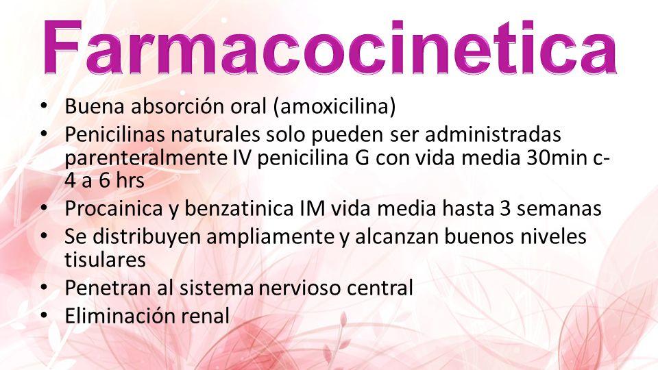 Buena absorción oral (amoxicilina) Penicilinas naturales solo pueden ser administradas parenteralmente IV penicilina G con vida media 30min c- 4 a 6 h