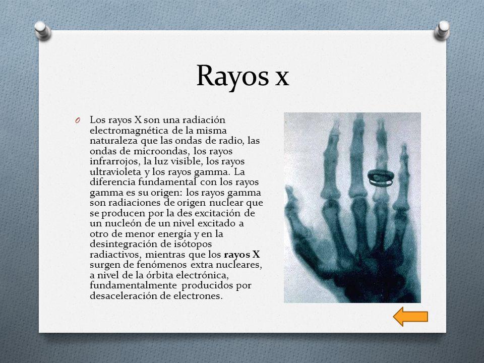 Rayos x O Los rayos X son una radiación electromagnética de la misma naturaleza que las ondas de radio, las ondas de microondas, los rayos infrarrojos