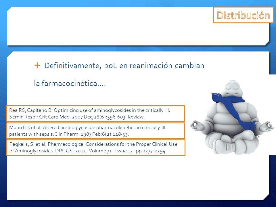 Definitivamente, 20L en reanimación cambian la farmacocinética…. Rea RS, Capitano B. Optimizing use of aminoglycosides in the critically ill. Semin Re