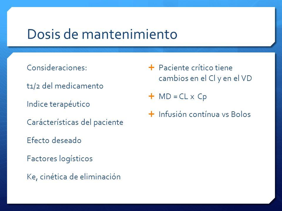 Dosis de mantenimiento Consideraciones: t1/2 del medicamento Indice terapéutico Carácterísticas del paciente Efecto deseado Factores logísticos Ke, ci