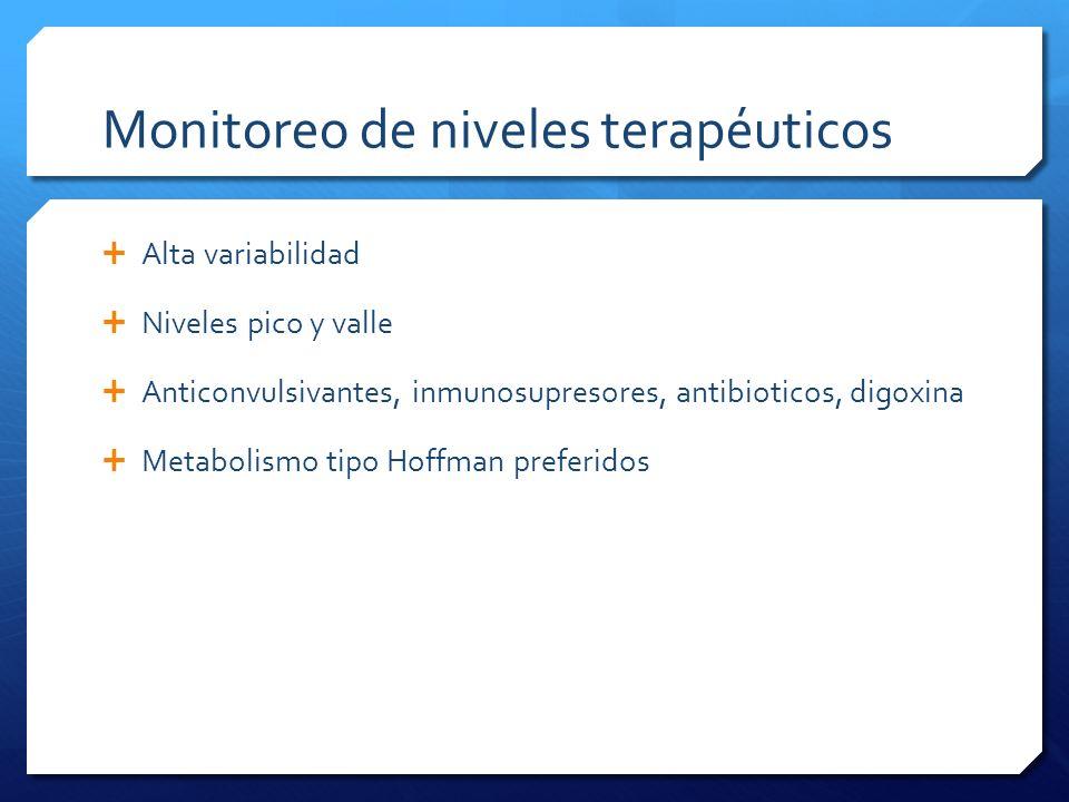 Monitoreo de niveles terapéuticos Alta variabilidad Niveles pico y valle Anticonvulsivantes, inmunosupresores, antibioticos, digoxina Metabolismo tipo