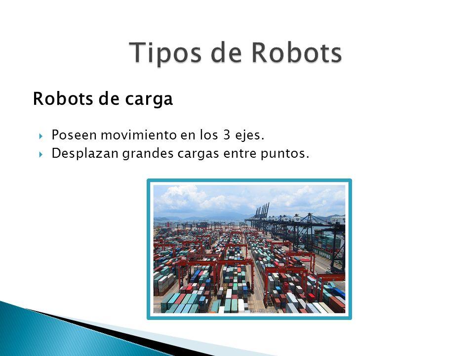 Robots de carga Poseen movimiento en los 3 ejes. Desplazan grandes cargas entre puntos.