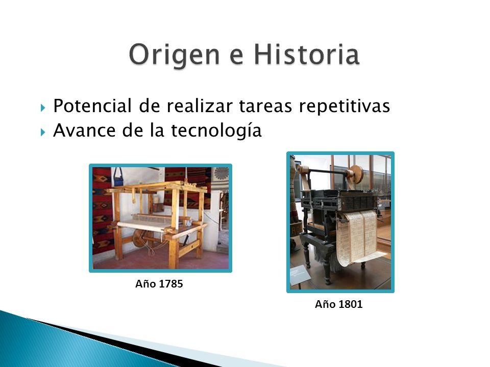 Telares (1800) Industria textil Tele manipuladores (1940) Industria química Industria aeroespacial Industria submarina Brazos mecánicos (1960) Industria automotriz