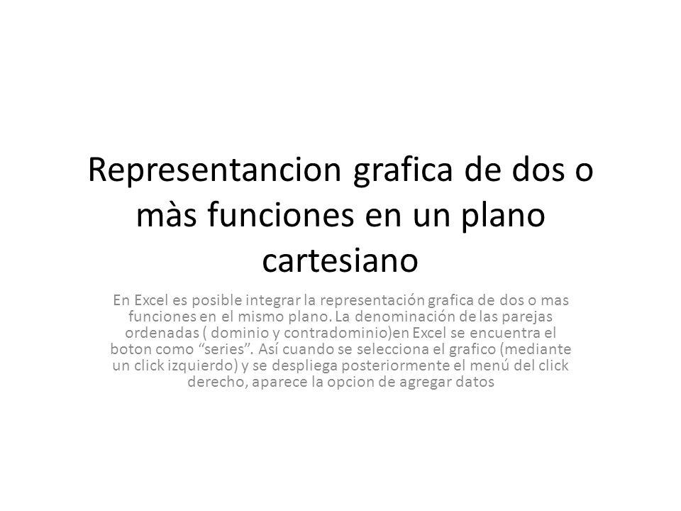 Representancion grafica de dos o màs funciones en un plano cartesiano En Excel es posible integrar la representación grafica de dos o mas funciones en