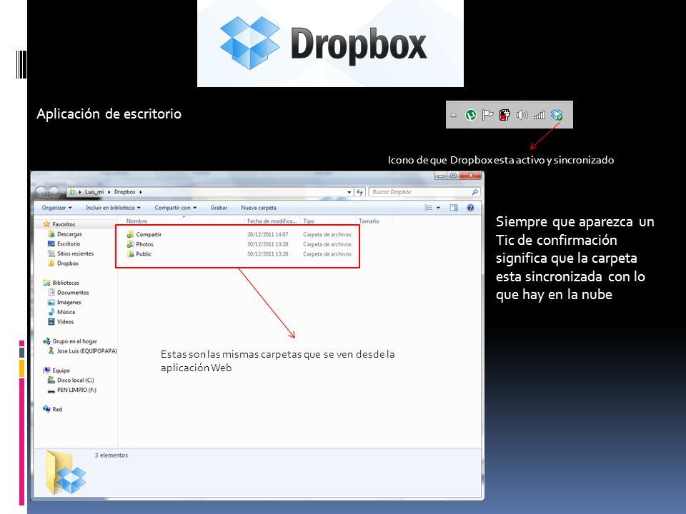 Aplicación de escritorio Icono de que Dropbox esta activo y sincronizado Estas son las mismas carpetas que se ven desde la aplicación Web Siempre que aparezca un Tic de confirmación significa que la carpeta esta sincronizada con lo que hay en la nube
