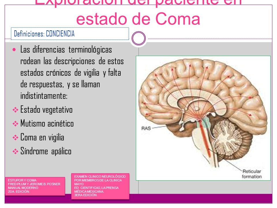 Exploración del paciente en estado de Coma Las diferencias terminológicas rodean las descripciones de estos estados crónicos de vigilia y falta de res