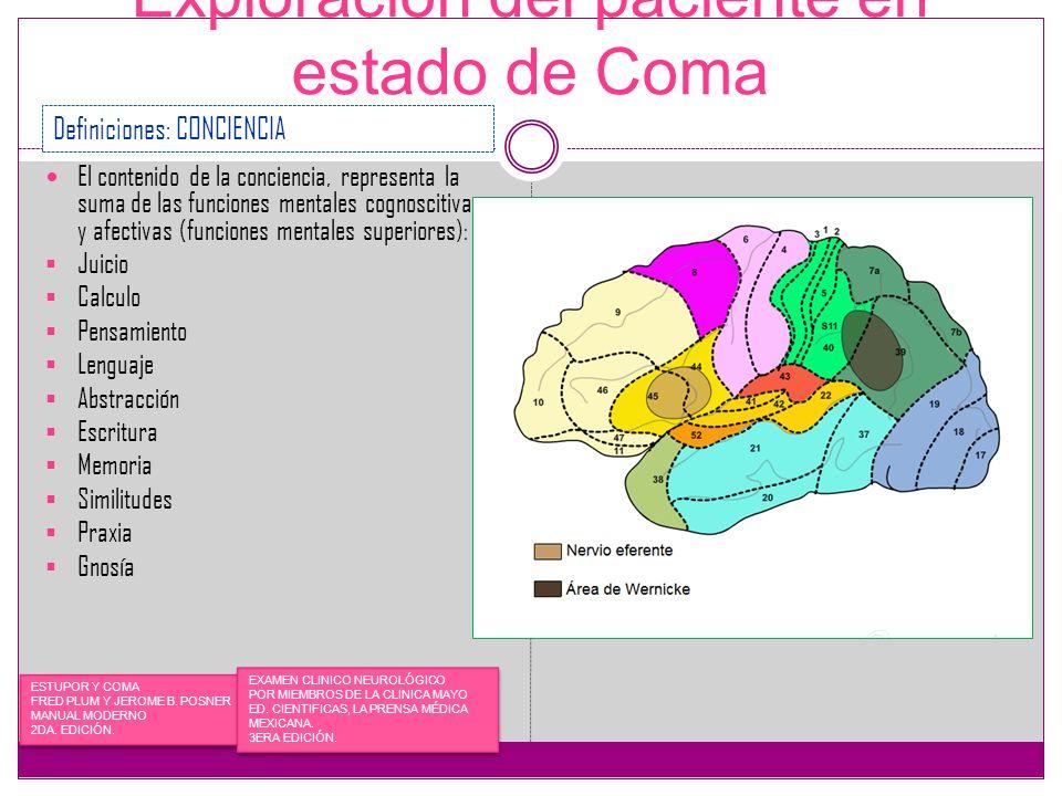 Exploración del paciente en estado de Coma El contenido de la conciencia, representa la suma de las funciones mentales cognoscitivas y afectivas (func