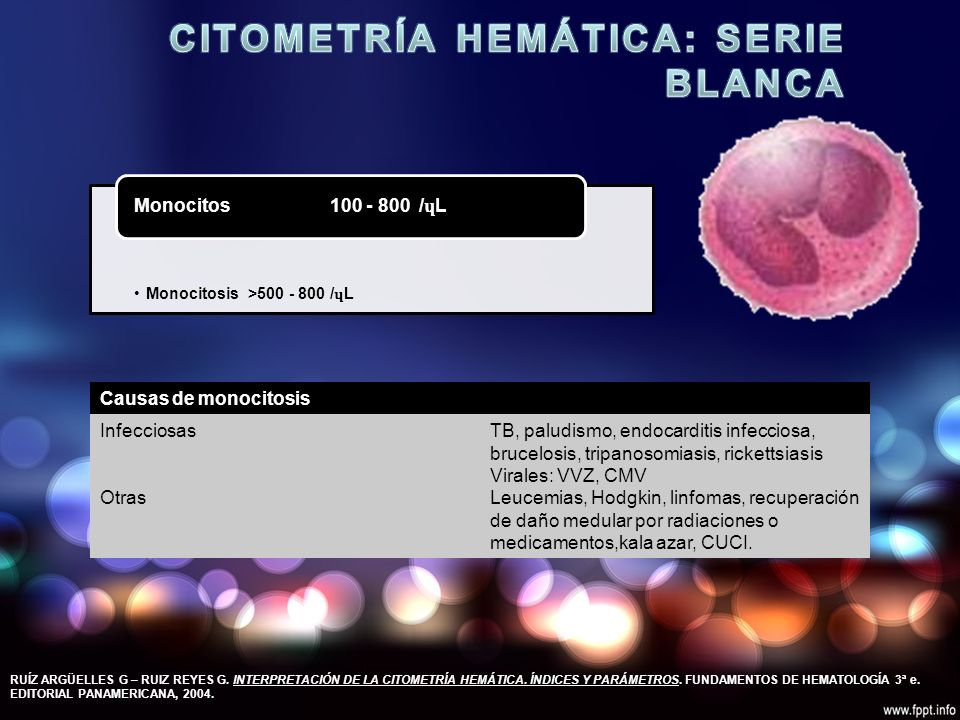 Monocitosis >500 - 800 / ɥ L Monocitos 100 - 800 / ɥ L RUÍZ ARGÜELLES G – RUIZ REYES G.