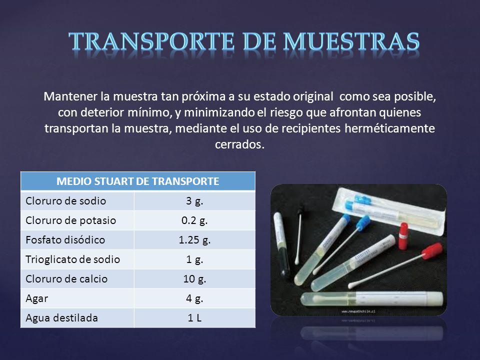 MEDIO STUART DE TRANSPORTE Cloruro de sodio3 g.Cloruro de potasio0.2 g.