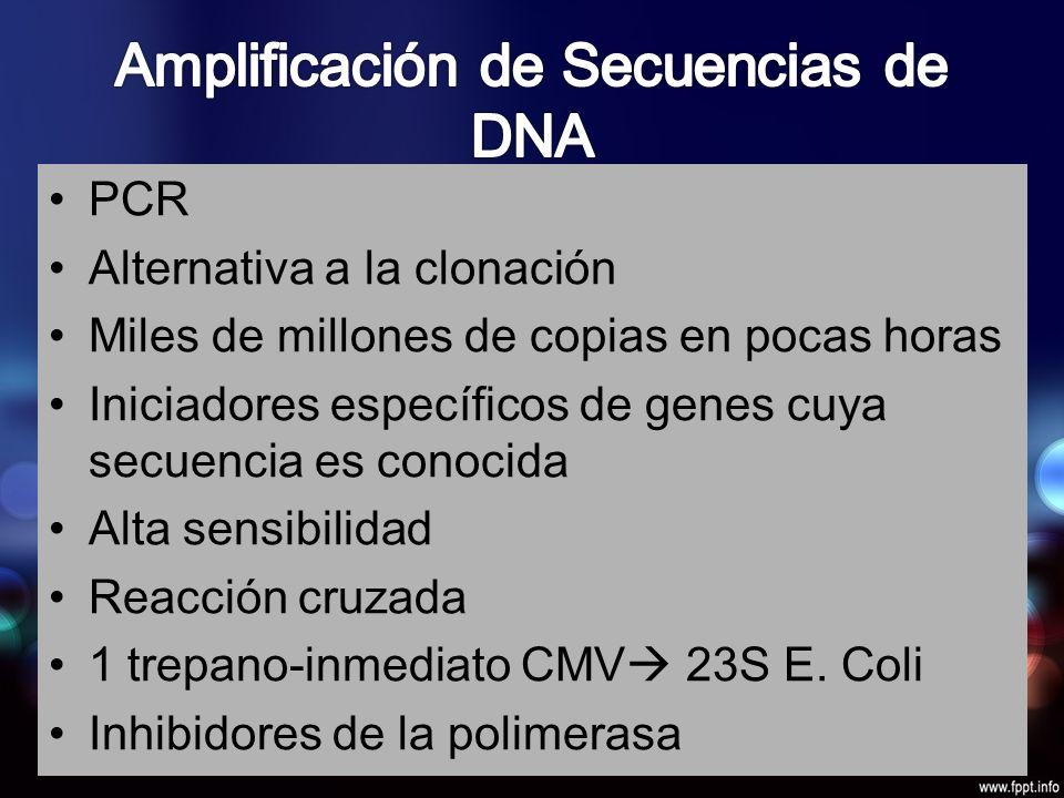 PCR Alternativa a la clonación Miles de millones de copias en pocas horas Iniciadores específicos de genes cuya secuencia es conocida Alta sensibilidad Reacción cruzada 1 trepano-inmediato CMV 23S E.