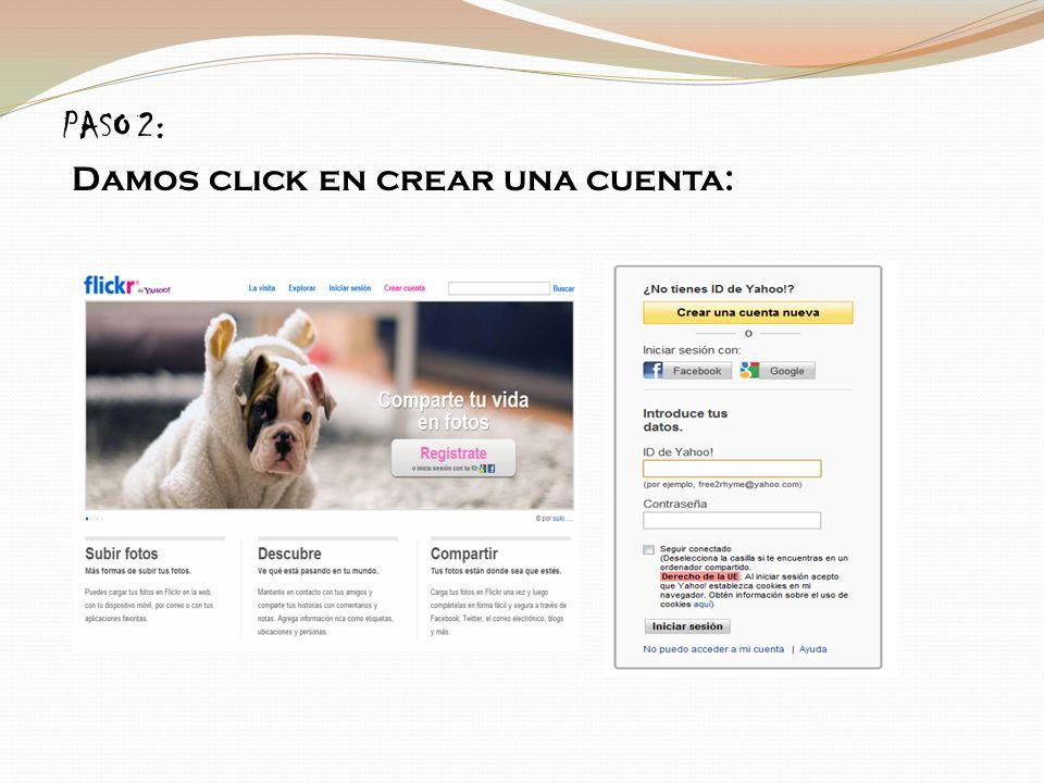PASO 2: Damos click en crear una cuenta: