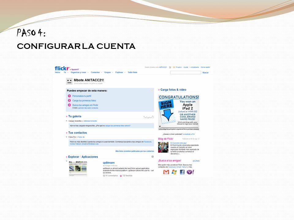 Paso 5: Damos click en configurar tu perfil aparece el siguiente pantallazo y creamos la URL