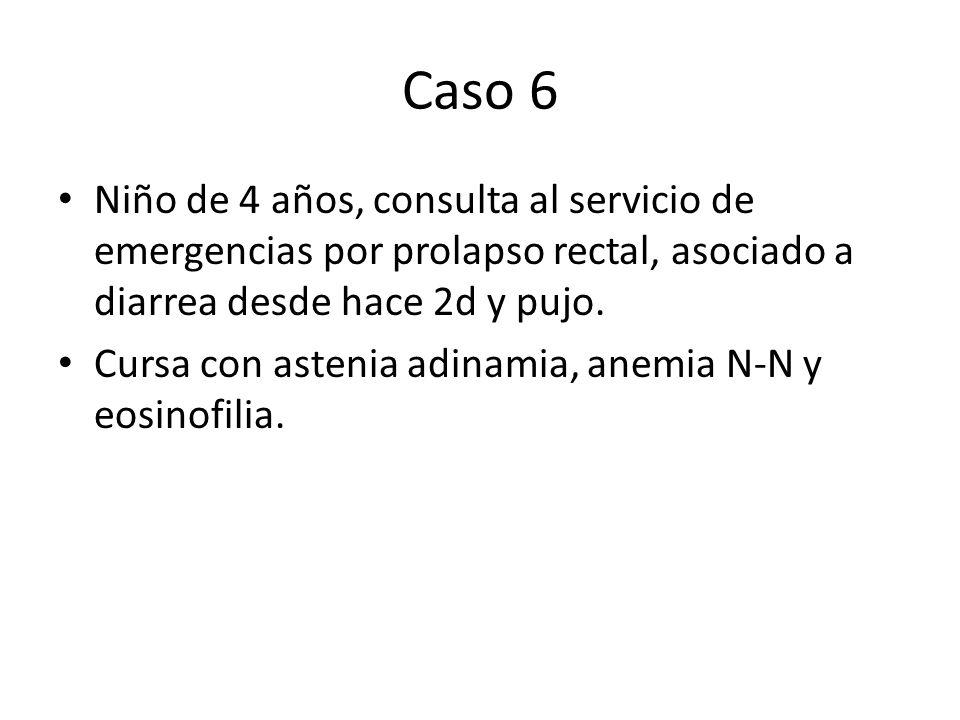 Caso 6 Niño de 4 años, consulta al servicio de emergencias por prolapso rectal, asociado a diarrea desde hace 2d y pujo. Cursa con astenia adinamia, a