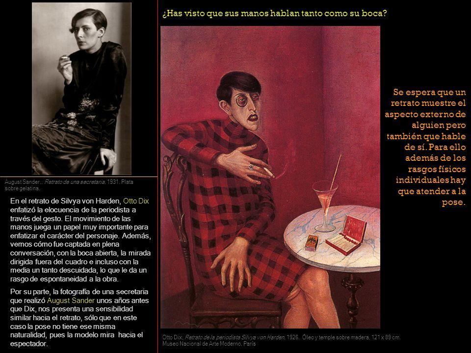 En el retrato de Silvya von Harden, Otto Dix enfatizó la elocuencia de la periodista a través del gesto. El movimiento de las manos juega un papel muy