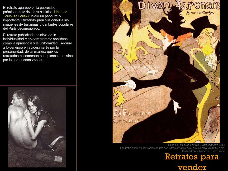 El retrato aparece en la publicidad prácticamente desde sus inicios. Henri de Toulouse Lautrec le dio un papel muy importante, utilizando para sus car