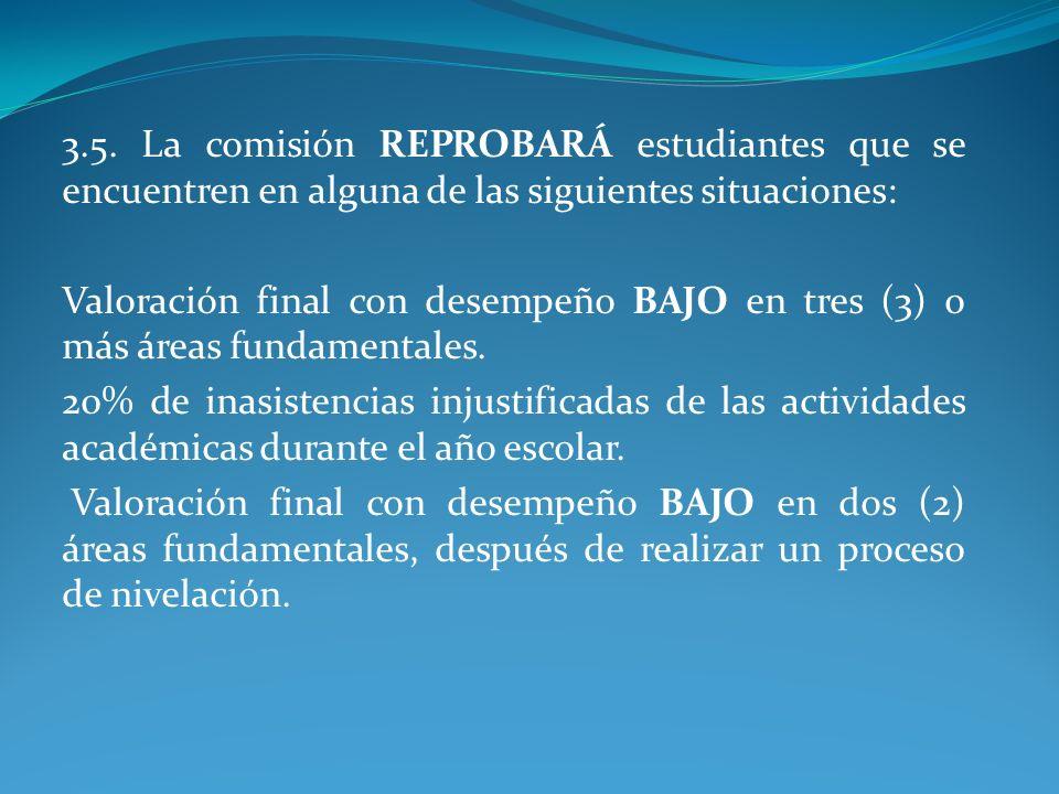 3.5. La comisión REPROBARÁ estudiantes que se encuentren en alguna de las siguientes situaciones: Valoración final con desempeño BAJO en tres (3) o má