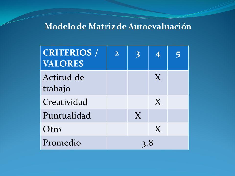 Modelo de Matriz de Autoevaluación CRITERIOS / VALORES 2345 Actitud de trabajo X CreatividadX PuntualidadX OtroX Promedio3.8
