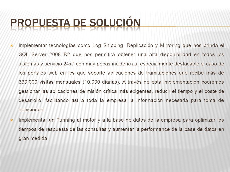 Implementar tecnologías como Log Shipping, Replicación y Mirroring que nos brinda el SQL Server 2008 R2 que nos permitirá obtener una alta disponibili