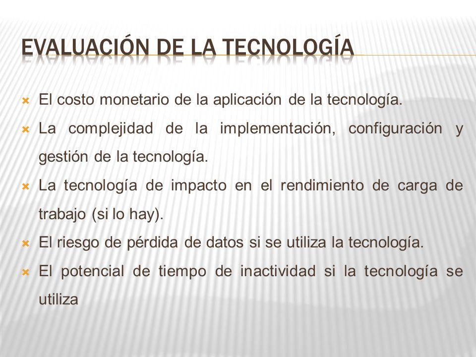 El costo monetario de la aplicación de la tecnología. La complejidad de la implementación, configuración y gestión de la tecnología. La tecnología de