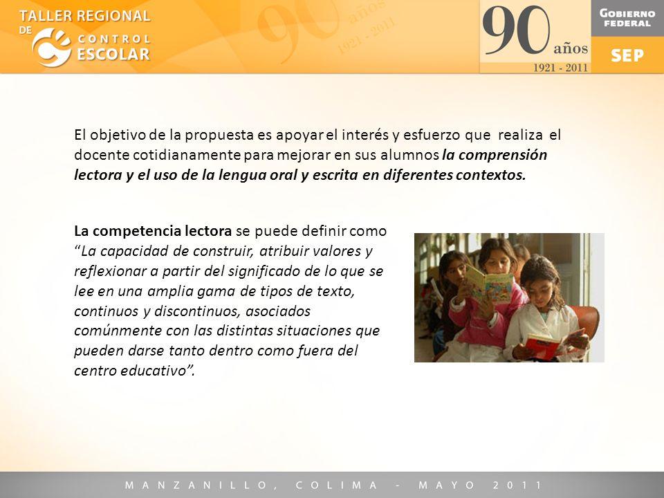 El objetivo de la propuesta es apoyar el interés y esfuerzo que realiza el docente cotidianamente para mejorar en sus alumnos la comprensión lectora y