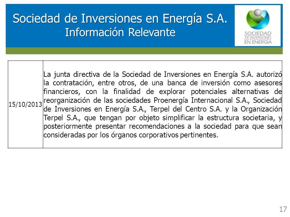 RESULTADOS FINANCIEROS SOCIEDAD DE INVERSIONES EN ENERGIA (SIE) Sociedad de Inversiones en Energía S.A. Información Relevante 17 15/10/2013 La junta d