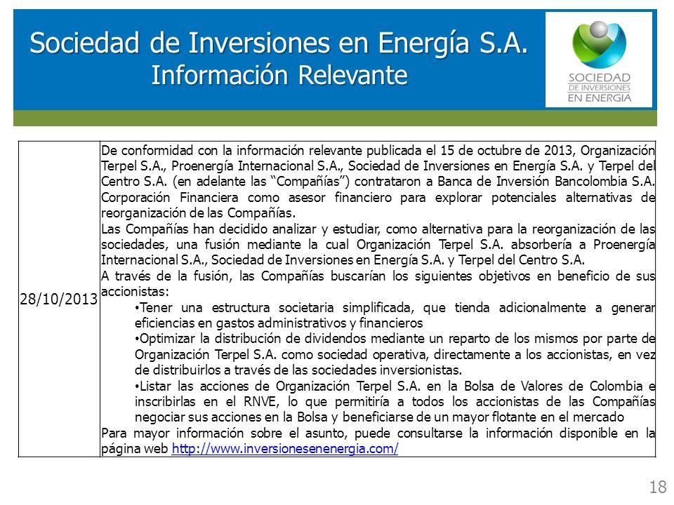 RESULTADOS FINANCIEROS SOCIEDAD DE INVERSIONES EN ENERGIA (SIE) Sociedad de Inversiones en Energía S.A. Información Relevante 18 28/10/2013 De conform