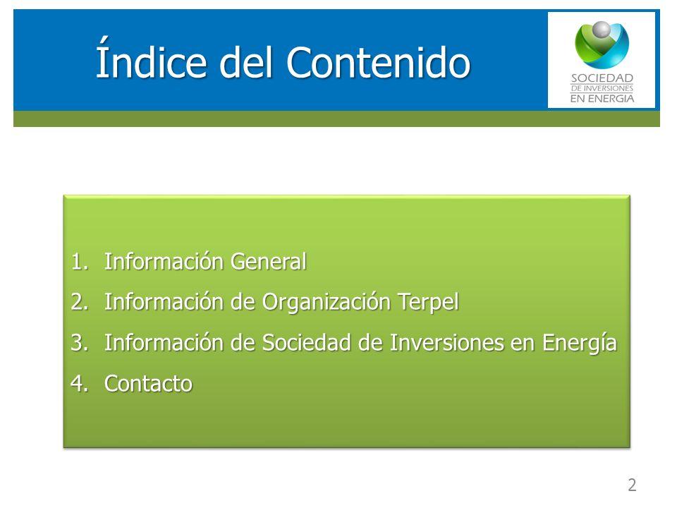 RESULTADOS FINANCIEROS SOCIEDAD DE INVERSIONES EN ENERGIA (SIE) Índice del Contenido 1.Información General 2.Información de Organización Terpel 3.Info