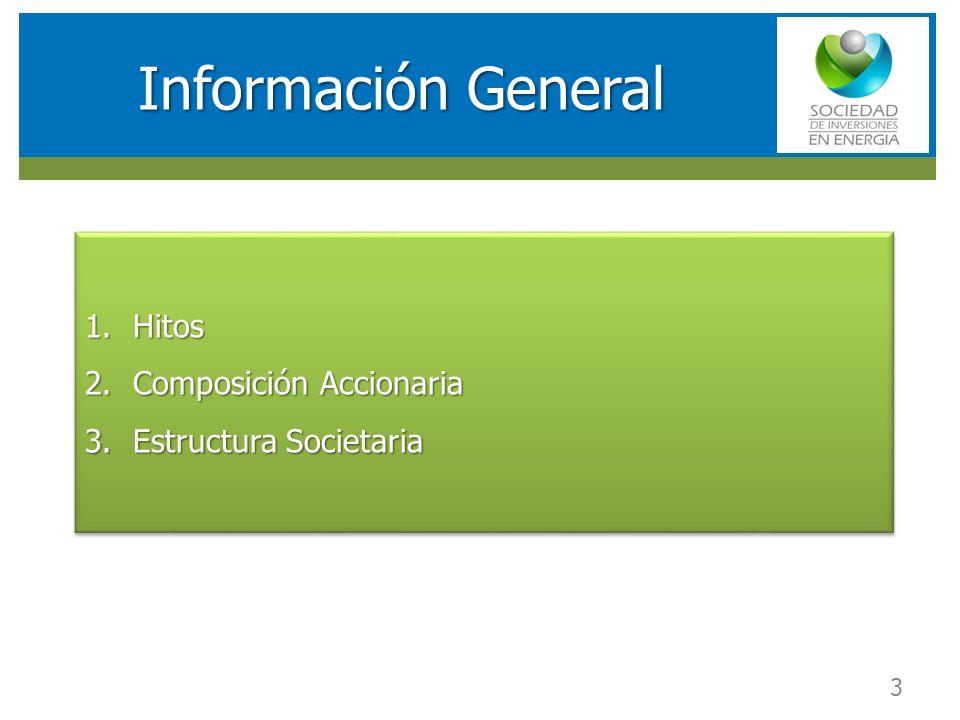 RESULTADOS FINANCIEROS SOCIEDAD DE INVERSIONES EN ENERGIA (SIE) Información General 1.Hitos 2.Composición Accionaria 3.Estructura Societaria 1.Hitos 2