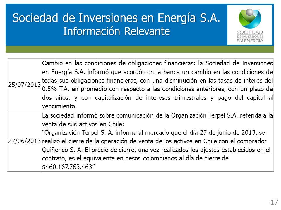 RESULTADOS FINANCIEROS SOCIEDAD DE INVERSIONES EN ENERGIA (SIE) Sociedad de Inversiones en Energía S.A. Información Relevante 17 25/07/2013 Cambio en