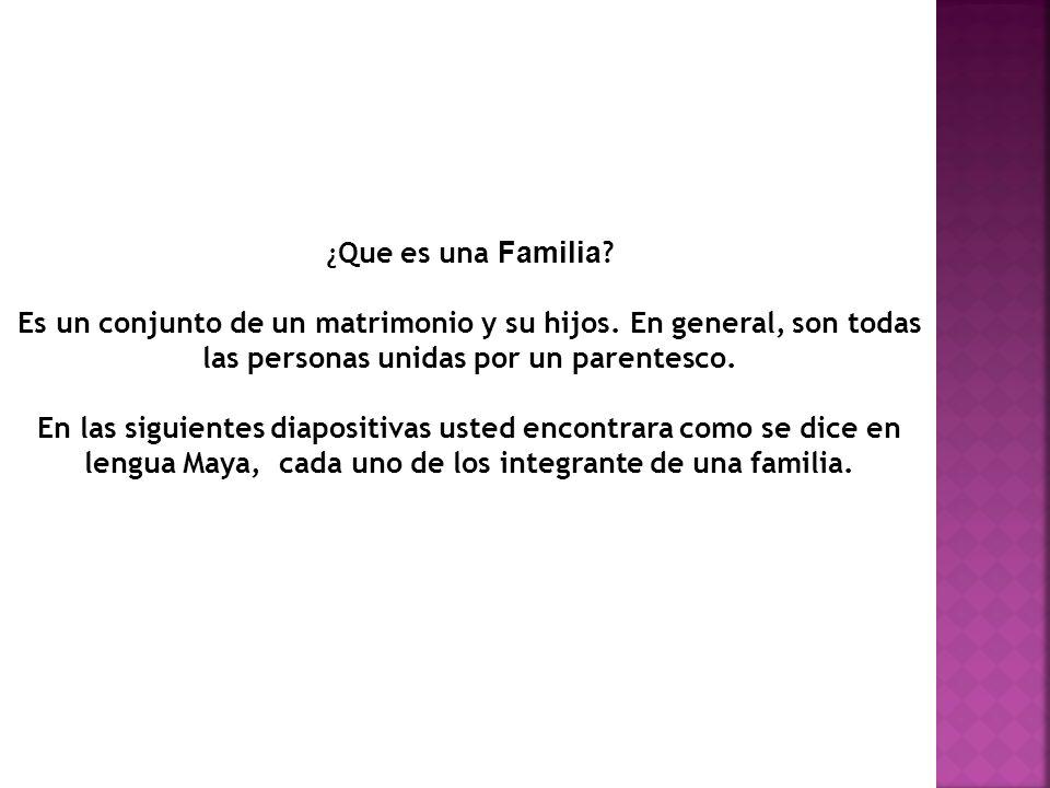 ¿ Que es una Familia .Es un conjunto de un matrimonio y su hijos.