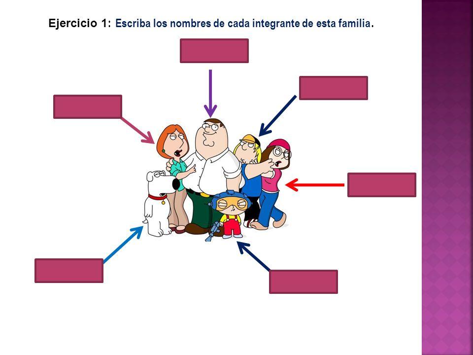 Ejercicio 1 : Escriba los nombres de cada integrante de esta familia.