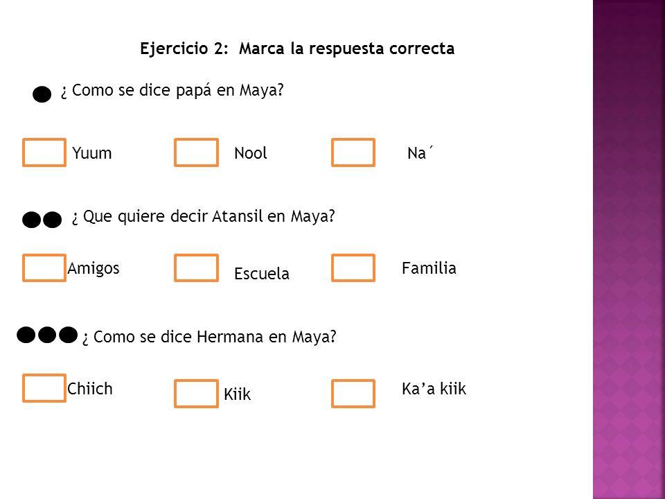 Ejercicio 2: Marca la respuesta correcta ¿ Como se dice papá en Maya.