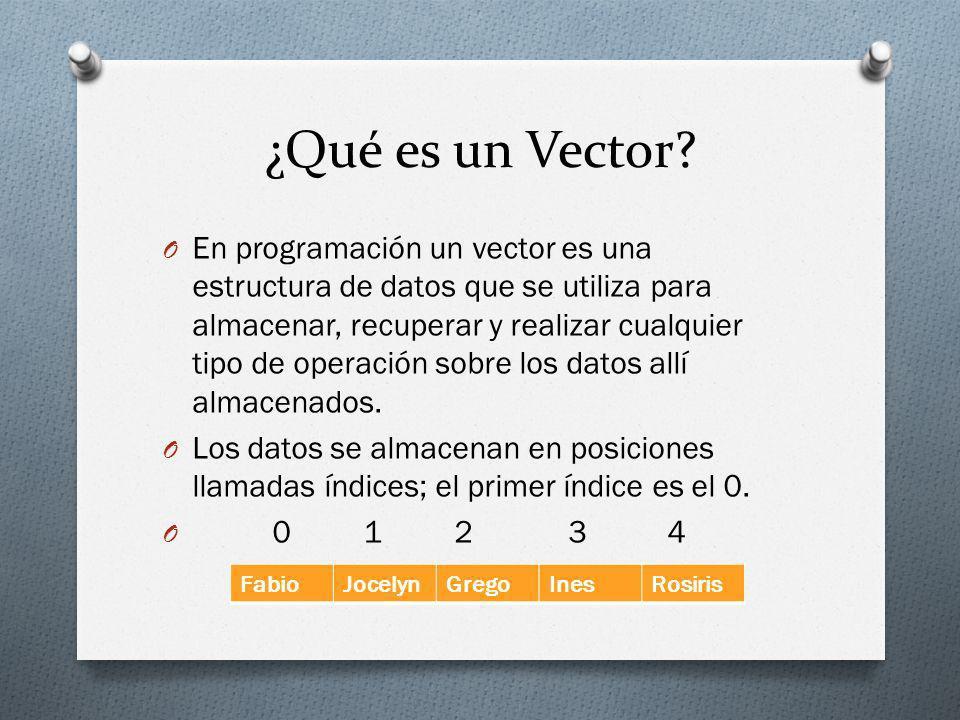 ¿Qué es un Vector? O En programación un vector es una estructura de datos que se utiliza para almacenar, recuperar y realizar cualquier tipo de operac