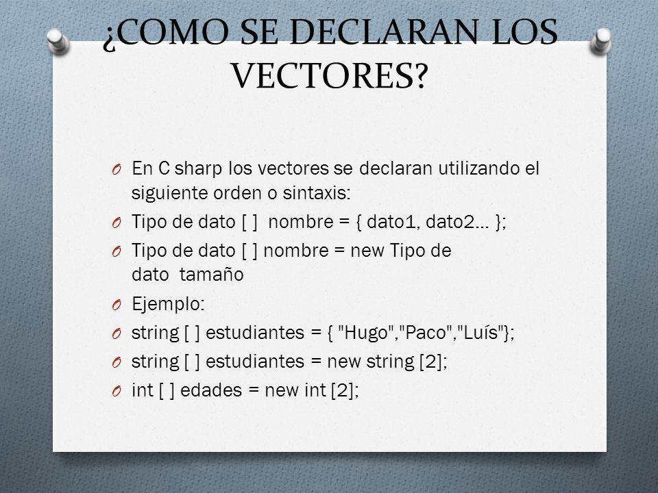 ¿COMO SE DECLARAN LOS VECTORES? O En C sharp los vectores se declaran utilizando el siguiente orden o sintaxis: O Tipo de dato [ ] nombre = { dato1, d