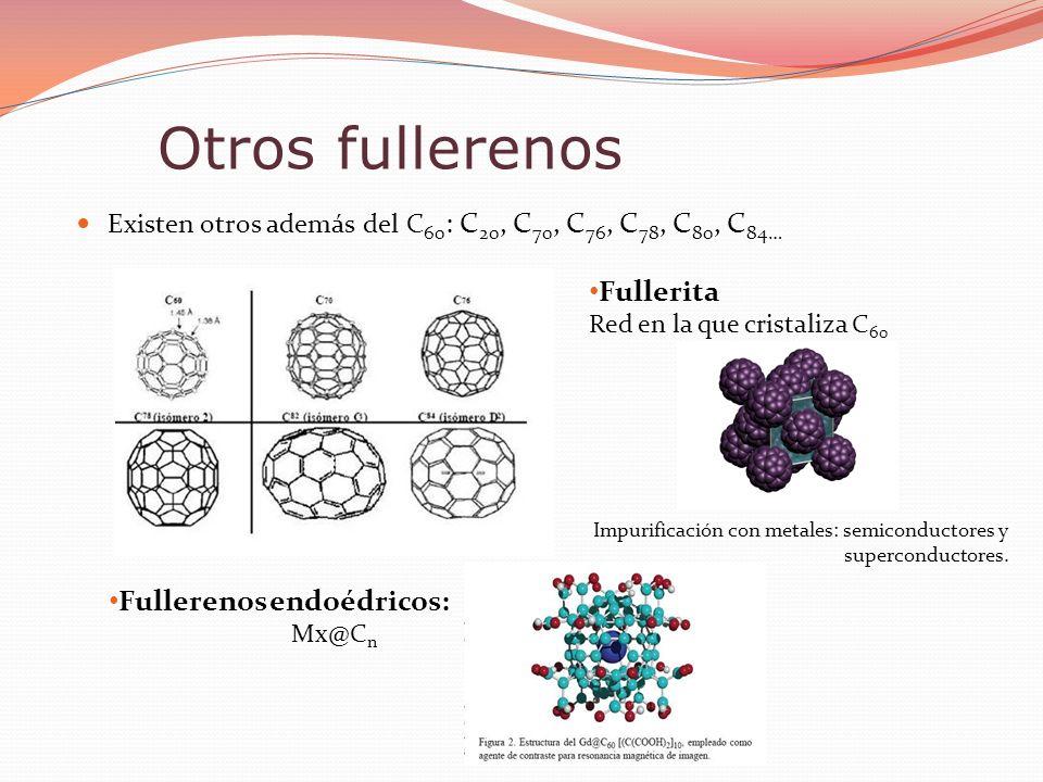 Existen otros además del C 60 : C 20, C 70, C 76, C 78, C 80, C 84… Otros fullerenos Fullerita Red en la que cristaliza C 60 Impurificación con metale