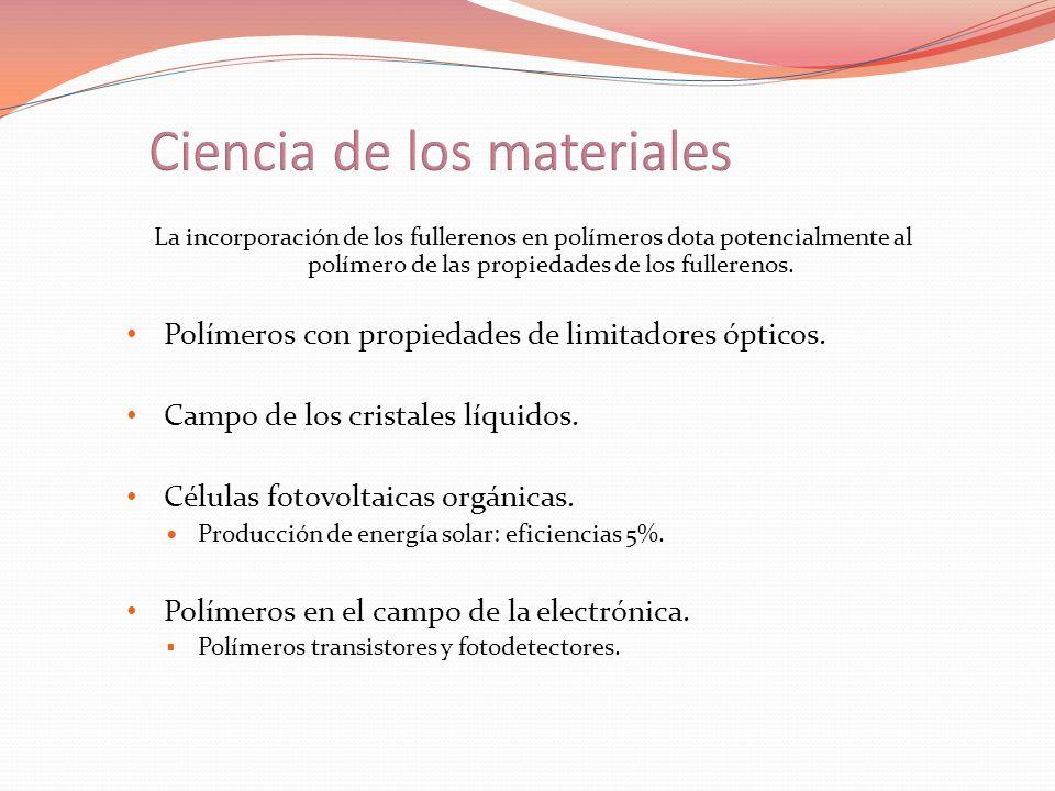 La incorporación de los fullerenos en polímeros dota potencialmente al polímero de las propiedades de los fullerenos. Polímeros con propiedades de lim