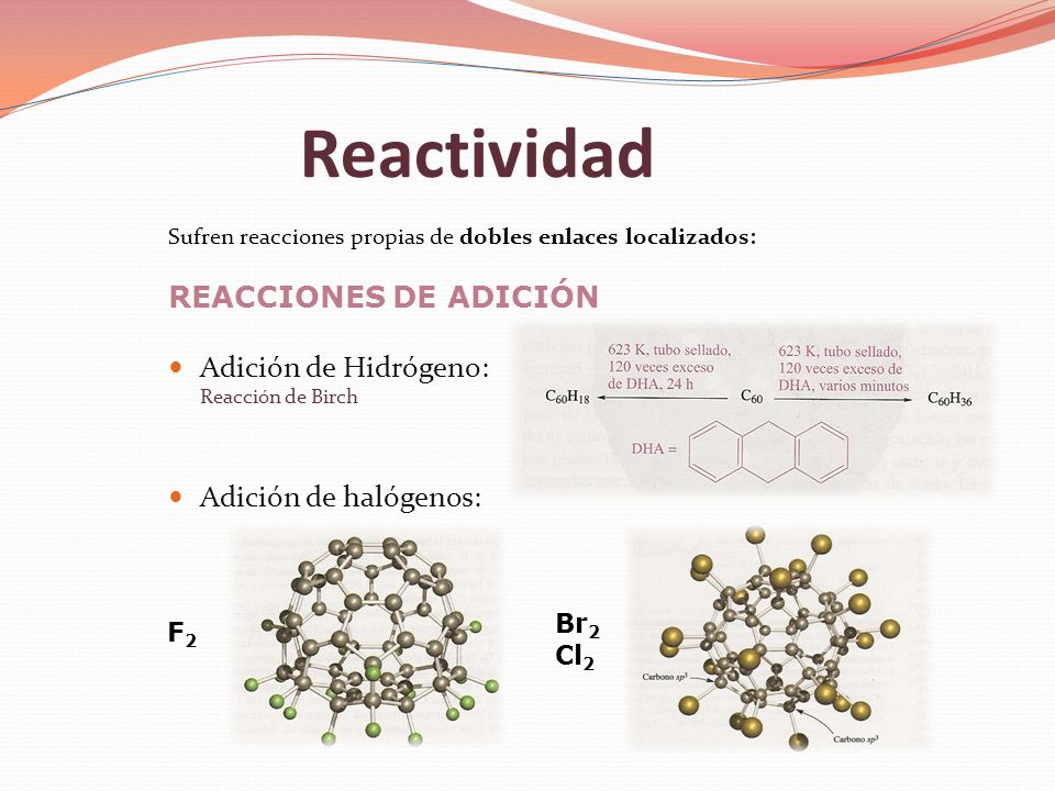 Reactividad Sufren reacciones propias de dobles enlaces localizados: REACCIONES DE ADICIÓN Adición de Hidrógeno: Reacción de Birch Adición de halógeno