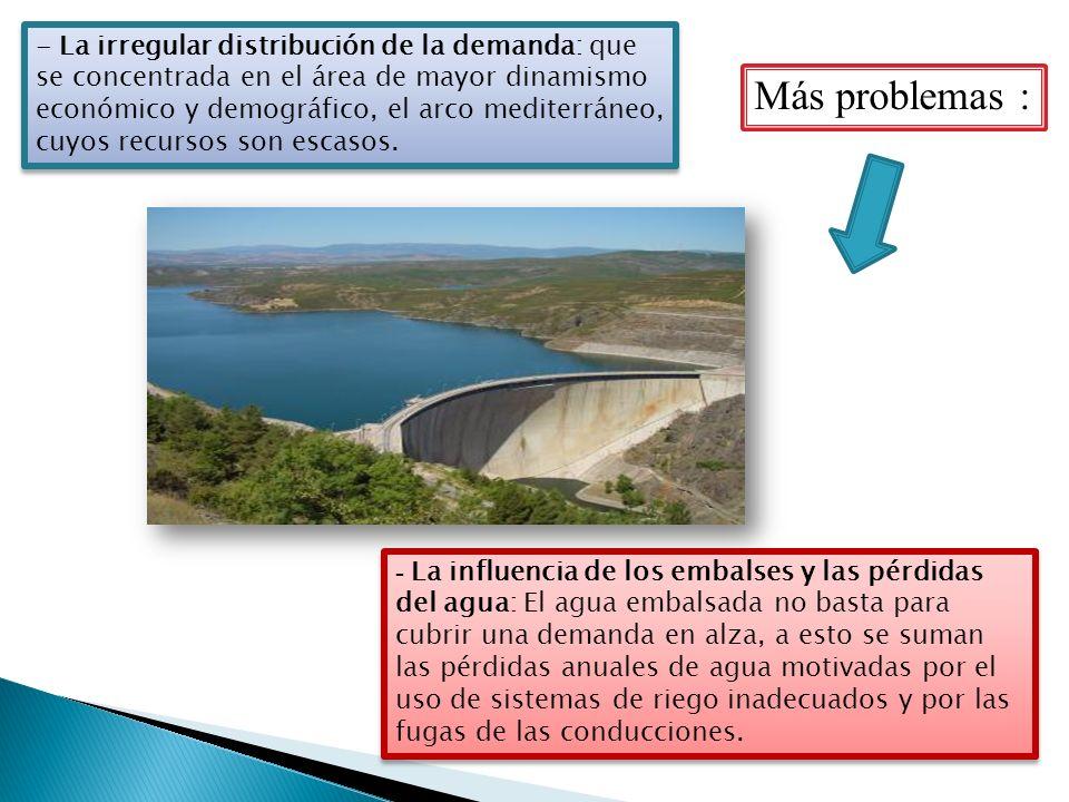- La irregular distribución de la demanda: que se concentrada en el área de mayor dinamismo económico y demográfico, el arco mediterráneo, cuyos recur