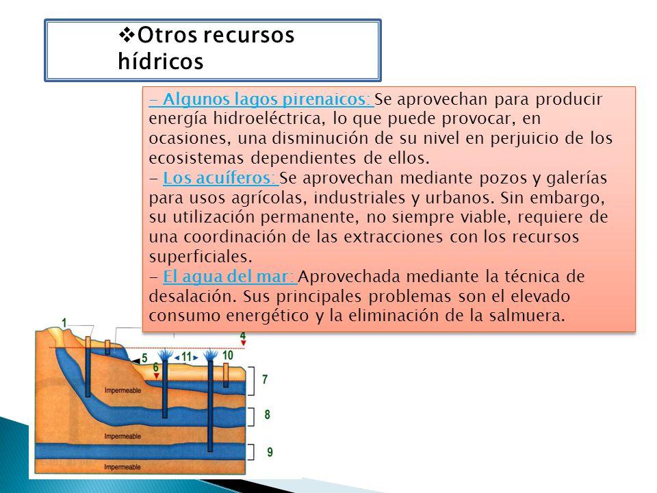 Otros recursos hídricos - Algunos lagos pirenaicos: Se aprovechan para producir energía hidroeléctrica, lo que puede provocar, en ocasiones, una dismi