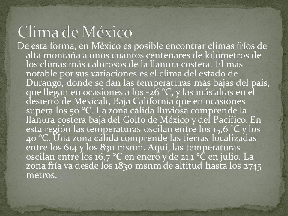 México es un país con una gran diversidad climática. La situación geográfica del país lo ubica en dos áreas bien diferenciadas, separadas por el trópi