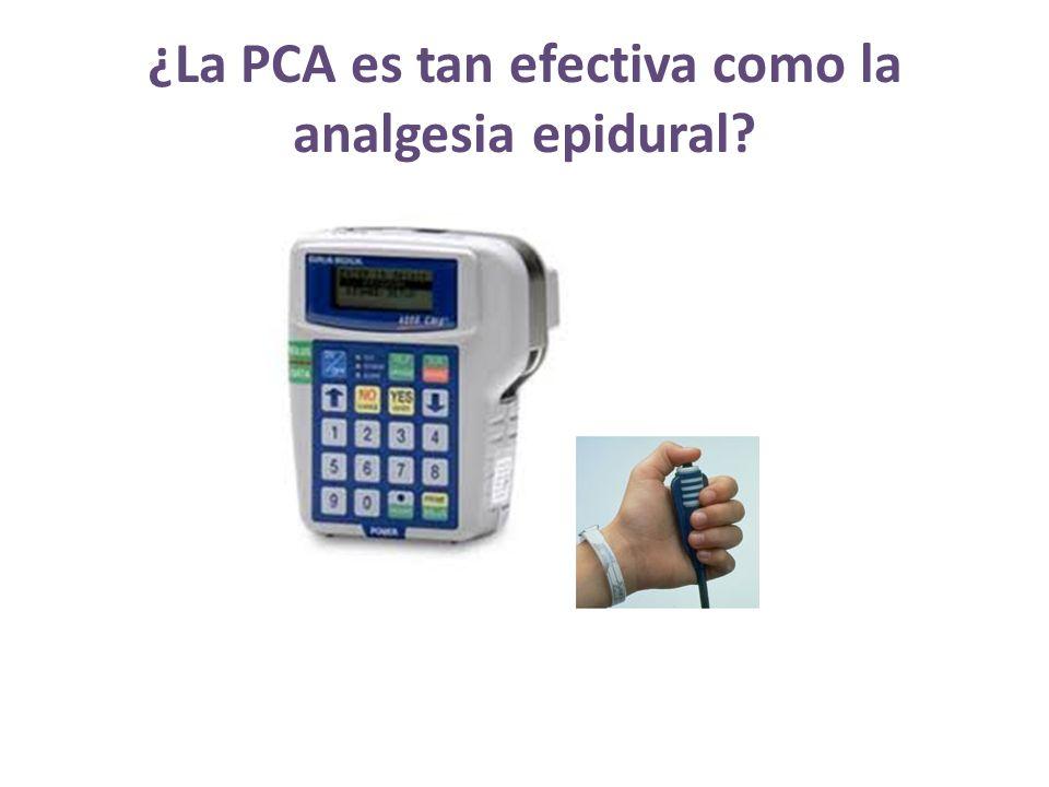 ¿La PCA es tan efectiva como la analgesia epidural?