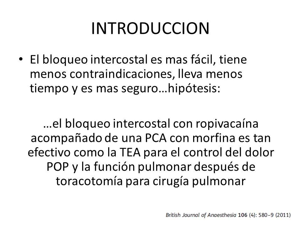 INTRODUCCION El bloqueo intercostal es mas fácil, tiene menos contraindicaciones, lleva menos tiempo y es mas seguro…hipótesis: …el bloqueo intercosta