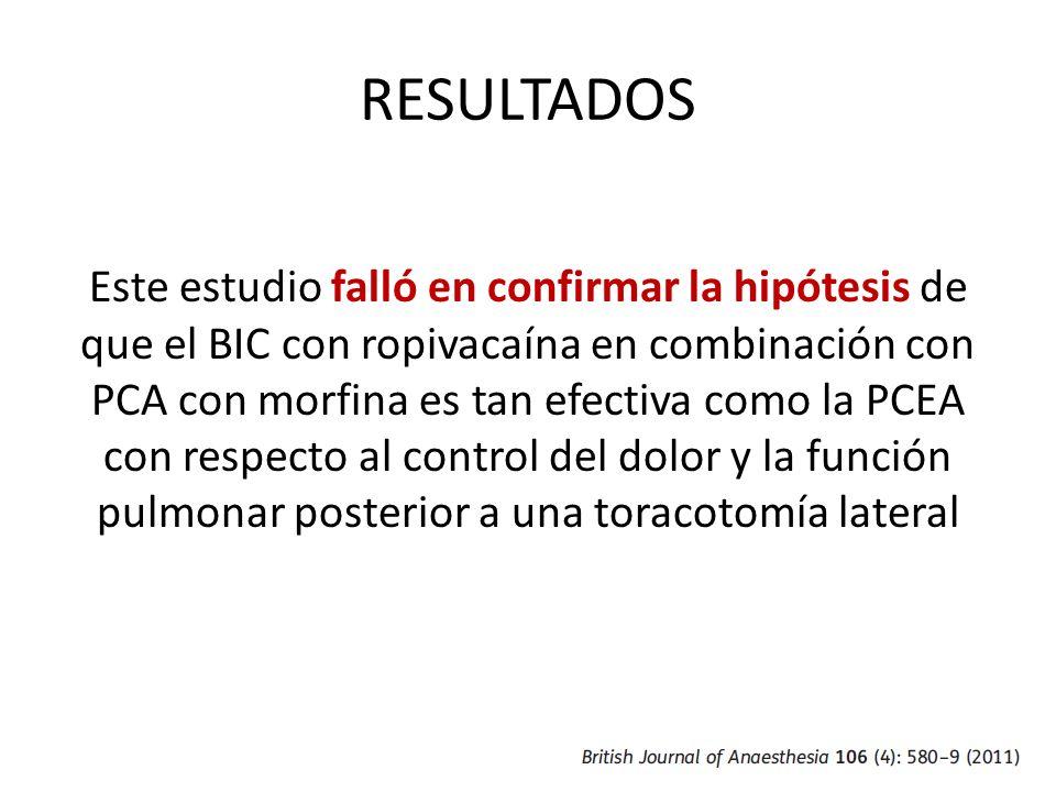 RESULTADOS Este estudio falló en confirmar la hipótesis de que el BIC con ropivacaína en combinación con PCA con morfina es tan efectiva como la PCEA