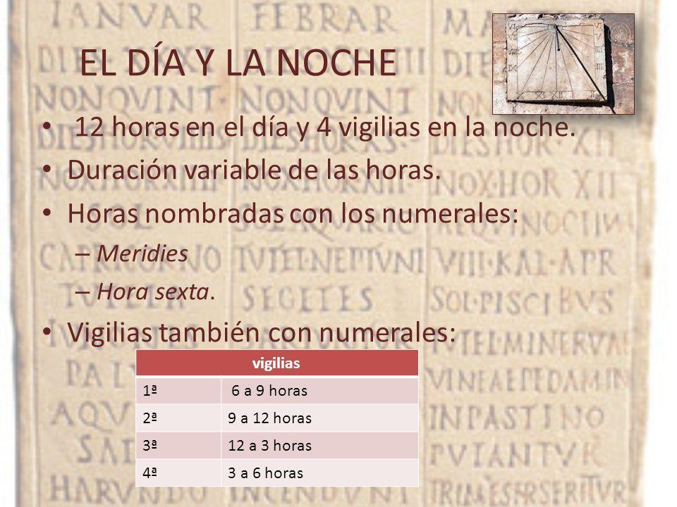 EL DÍA Y LA NOCHE 12 horas en el día y 4 vigilias en la noche. Duración variable de las horas. Horas nombradas con los numerales: – Meridies – Hora se