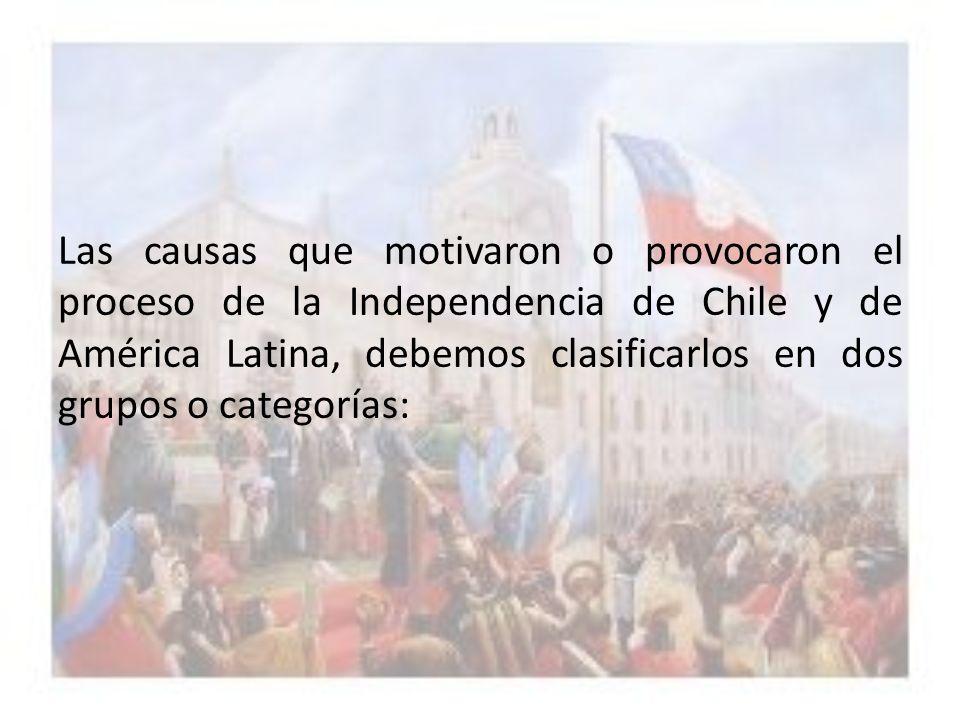 CAUSAS DE ORIGEN EXTERNO: Dentro los acontecimientos o hechos que influyeron externamente a la causa de la Independencia de Chile, están: a.- La Influencia de la Ilustración, con su espíritu crítico y racionalista.