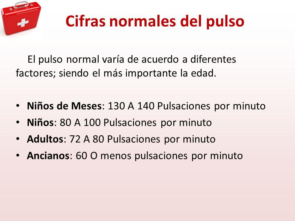 Cifras normales del pulso El pulso normal varía de acuerdo a diferentes factores; siendo el más importante la edad. Niños de Meses: 130 A 140 Pulsacio