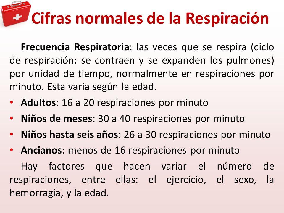 Cifras normales de la Respiración Frecuencia Respiratoria: las veces que se respira (ciclo de respiración: se contraen y se expanden los pulmones) por