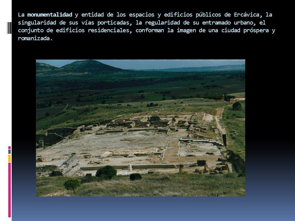 La monumentalidad y entidad de los espacios y edificios públicos de Ercávica, la singularidad de sus vías porticadas, la regularidad de su entramado u